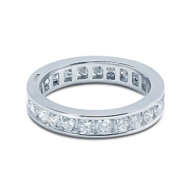 3.5mm Round Cut Channel Setting Full Diamond Eternity Ring 1.40ct