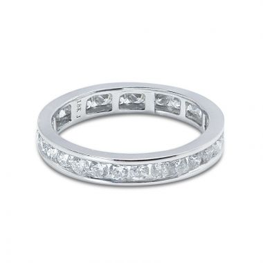 3mm Round Cut Channel Setting Full Diamond Eternity Ring 0.90ct