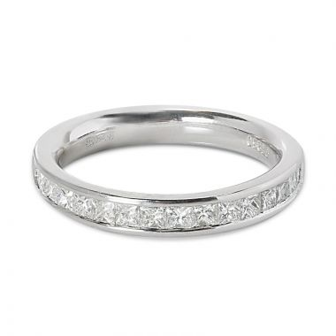 3mm Channel Setting Princess Cut Half Band Diamond Wedding Ring