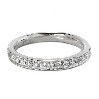 3mm Grain Set Ring Half Band Diamond Wedding Ring