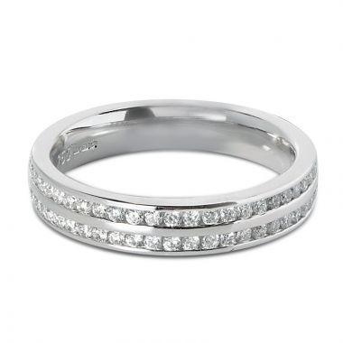 4mm Double Row Channel Setting Diamond Wedding Ring