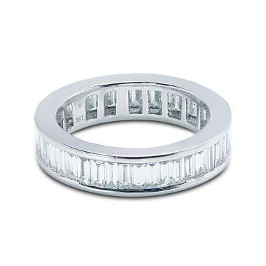 5mm Baguette Cut Channel Setting Full Diamond Eternity Ring
