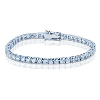 7 Carat Emerald Diamond Tennis Bracelet on a Wrist