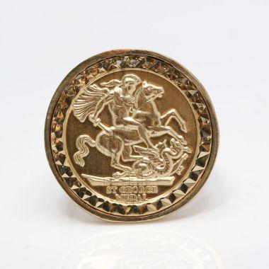 9ct Gold full size sovereign Medallion Ring