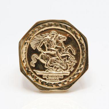 9ct Gold Octagon half size sovereign Medallion Ring