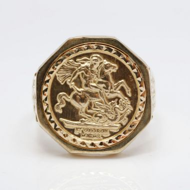 9ct Yellow Gold Tenth Size Octagon Sovereign Medallion Ring