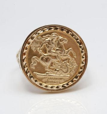 9ct Yellow Gold Tenth Size Sovereign Medallion Ring