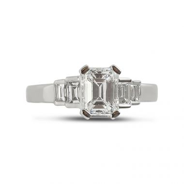 Art Deco Emerald Cut and Four Baguettes Diamond Engagement Ring Top View
