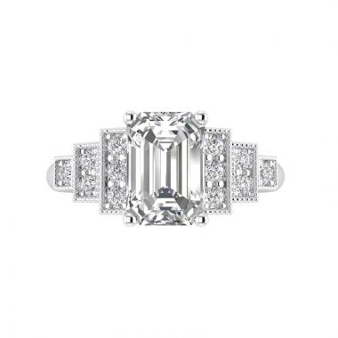 Art Deco Emerald Cut Diamond Engagement Ring Top View
