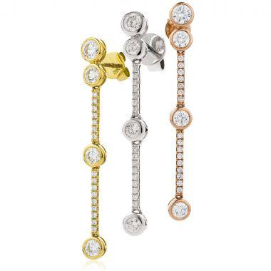 4 Round Diamonds Drop Earrings