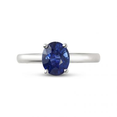 Blue Sapphire Oval Solitaire Engagement Ring Top View