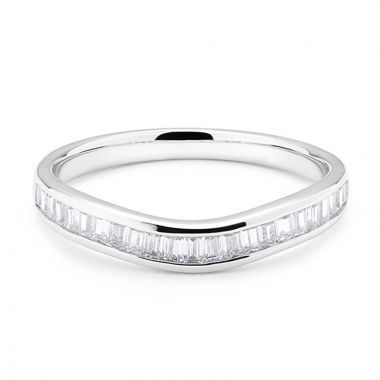 Channel Setting Curved Baguette Cut Diamond Wedding Ring