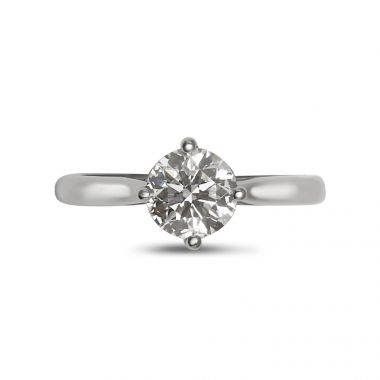 Compass Setting Solitaire Diamond Engagement Ringm Top View