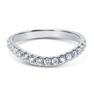 Curved Micro Set Diamond Wedding Ring
