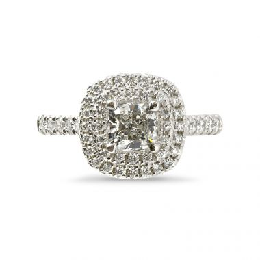 Cushion Cut Double Halo Diamond Engagement Ring Top View