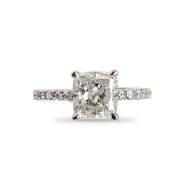 Cushion Cut Micro Setting Diamond Engagement Ring Top View