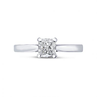 Long Cushion Cut Solitaire Diamond Engagement Ring Top View