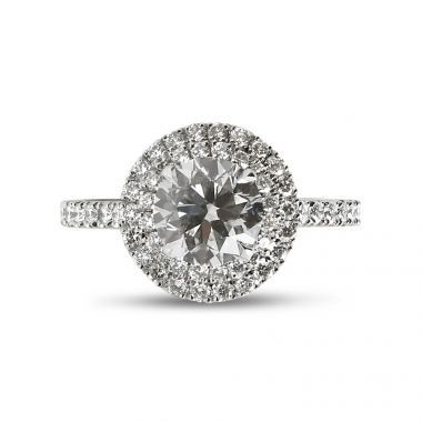 Double Halo Round Diamond Engagement Ring top view