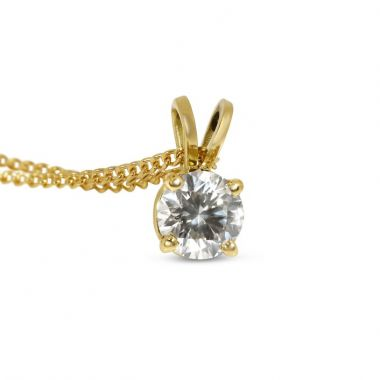 Four Claw Yellow Gold Double loop Diamond Pendant