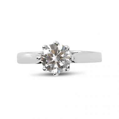 Eight Claw Solitaire Chenier Shank Diamond Engagement Ring Top View