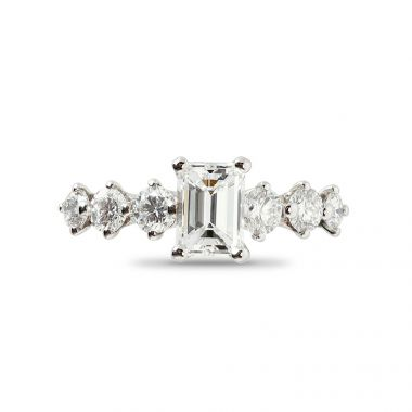 Emerald Cut 7 Stones Diamond Engagement Ring Top View