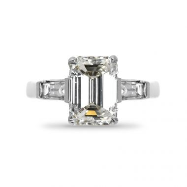 Emerald Cut and Tapered Baguettes Diamond Engagement Ring Top View