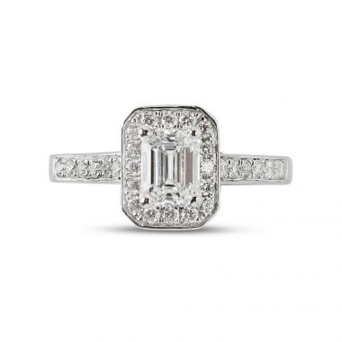 Emerald Cut Diamond Halo Engagement Ring Top View
