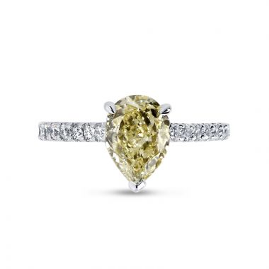 Fancy Yellow Pear Shaped Micro Setting Diamond Engagement Ring Top View