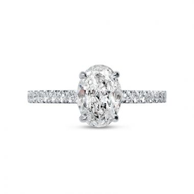Four Claw Oval Cut Diamond Micro Setting Engagement Ring