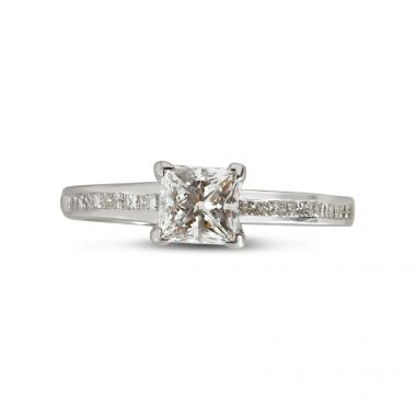 Four Claw Princess Cut Channel Setting Diamond Engagement Ring Top View
