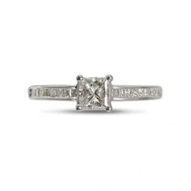 Four Claw Princess Cut Diamond Channel Setting Engagement Ring Top View