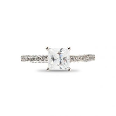 Four Claw Princess Cut Pave Setting On Inner Sides of The Diamond Engagement Ring Band Top View