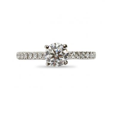 Four Claw Round Cut Claw Setting Diamond Engagement Ring Top View