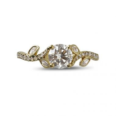 Four Claw Round Cut with Four Small Marquise Cut Diamonds on the Band Engagement Ring Top View