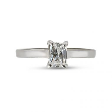 Four Claw Solitaire Emerald Cut Diamond Engagement Ring Top View