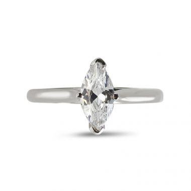 Four Claw Solitaire Marquise Cut Diamond Engagement Ring Top View