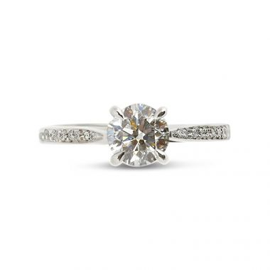 Four Claw Pave Setting Round Cut Diamond Engagement Ring Top View
