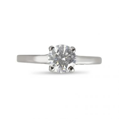 Four Claw Solitaire Plain Straight Band Engagement Ring Top View