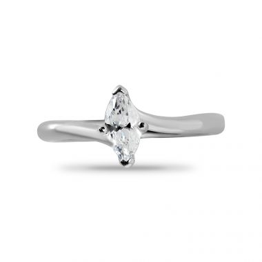 Four Claw Solitaire Twist Marquise Cut Diamond Engagement Ring Top View