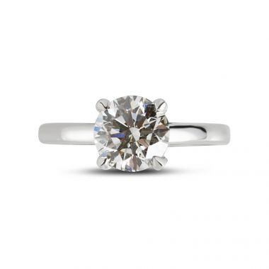 Four claw straight band diamond engagement ring top view