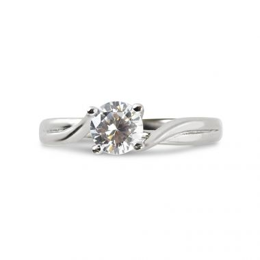 Four Claw Twist Solitaire Diamond Engagement Ring Top View