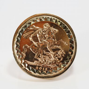 Gents Heavy 22ct Full Sovereign Coin In A 9ct Gold Ring Mount