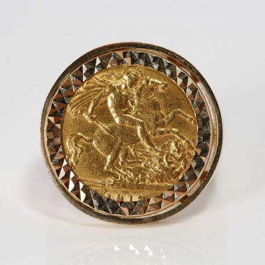 Gents Heavy 22ct Half Sovereign Coin In A 9ct Gold Ring Mount