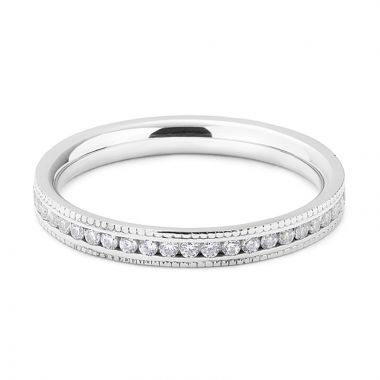 2mm Mille Grain Set Half Band Diamond Wedding Ring