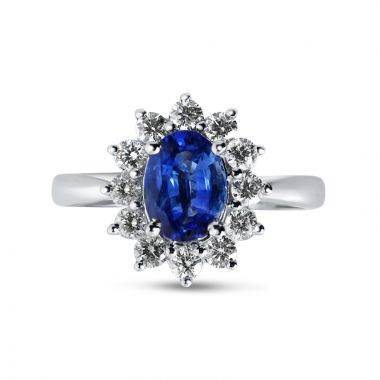 Kate Middleton Blue Sapphire Oval Cut Ring top View