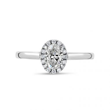 Oval Cut Plain Band Diamond Halo Engagement Ring