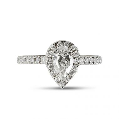 Pear Cut Diamond Halo Engagement Ring Top View