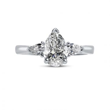 Pear Cut With Pair of Pear Shape Side Stones Diamond Engagement Ring Top View