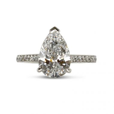 Pear Shaped Pave Setting Diamond Engagement Ring Top View