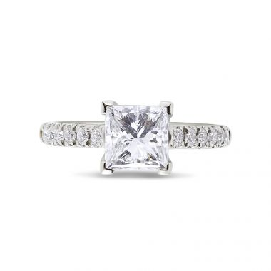 Princess Cut Solitaire Claw Setting Diamond Engagement Ring Top View